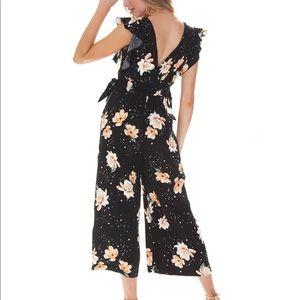 Black Mink Pink Floral Jumpsuit Size XS